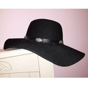 Black Wide Brim Floppy Hat with Silver Conchos